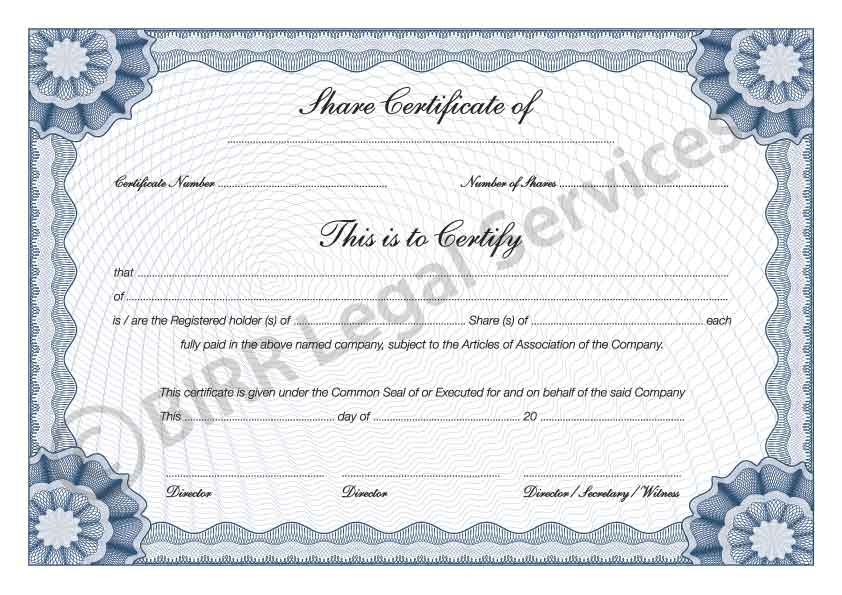 Share Certificates | BIRR Legal Services | Company Formation Experts